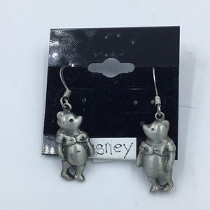 Disney Pewter Winnie The Pooh Earrings Rare NEW